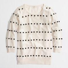 black & white pom pom sweater