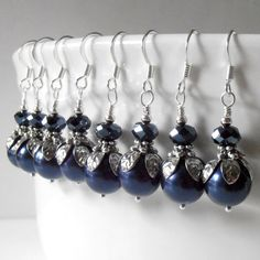 Navy Bridesmaid Earrings, Swarovski Pearl Dangles, Navy Wedding, Pearl Wedding Jewelry, Bridesmaid Gift, Beaded Earring, Silver, Emmeline