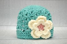 Baby newborn girl hat girl flower hat in mint green, cream and soft pink photography prop crochet girl hat