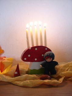 Birthday mushroom by JardarMama, via Flickr Happy Birthday Celebration, Birthday Traditions, Happy Birthday Baby, Festival Celebration, Birthday Fun, Tiny Dolls, Soft Dolls, Waldorf Crafts, Nature Table