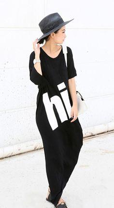 Minimalism mid sleeved crew neck black irregular-hem slit letter printed midi dress