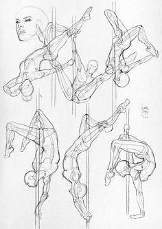 Estos estudios anatómicos de la artista italiana de comic Laura Braga nos fascinaron... ¡Nos encanta ver como el pole dance inspira a artistas de otros medios! — en Provocarte PoleDance-Studio.