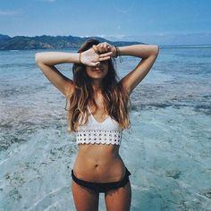 Summer Vibes :: Beach :: Friends :: Adventure :: Sun :: Salty Fun :: Blue Water :: Paradise :: Bikinis :: Boho Style :: Fashion + Outfits :: Free your Wild + see more Untamed Summertime Inspiration Untamed Organica Selfie Foto, Inka Williams, Beach Poses, Trendy Swimwear, Bralette Tops, The Bikini, Daily Bikini, Bikini Babes, Bikini Tops