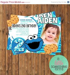 SALE: 30% OFF Cookie Monster Invitation- Cookie Monster Birthday Invitation-Printable Invitation on Etsy, $6.65