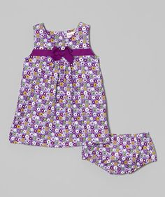Look what I found on #zulily! Purple Floral Pleat Front Dress & Bloomers - Infant by Hippo Hula #zulilyfinds