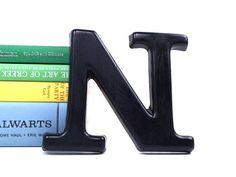 vintage 6 black letter N industrial marquee business