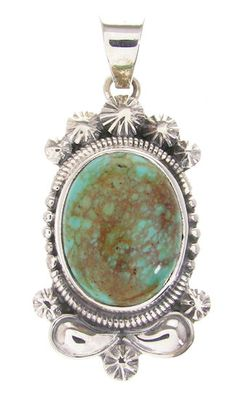 Sterling Silver Southwest Kingman Turquoise Pendant IS59901