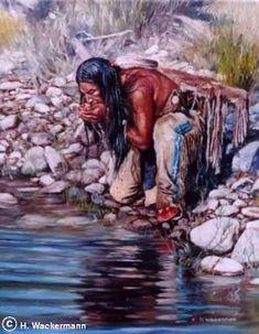 native american paintings Hubert Wackermann | Sioux Scout༺ ♠ ༻*ŦƶȠ*༺ ♠ ༻