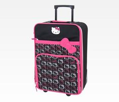 Hello Kitty Rolling Luggage: Pink + Gray Face
