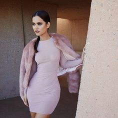 """The super pretty mesh Taviana dress. Shown with our faux fur jacket.  Shop: houseofcb.com"""