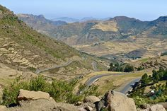 Road in the Ethiopian Highlands of Tigray Providence