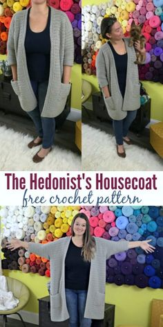 This free housecoat crochet pattern is perfect. Roomy, one-size-fits-most, and super chic! #freecrochetpattern #crochet #yarn