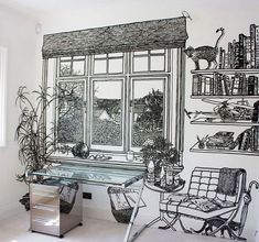 """""""Charlotte Mann is a British artist known for her wall drawings and drawn room installations. These densely detailed scale drawings of rooms in rooms are invariably made with thick black marker pen on a white ground. Mural Art, Wall Murals, Wall Art, Sharpie Wall, Victorian Style Furniture, Space Painting, Wall Drawing, Home Wallpaper, Wallpaper Furniture"""