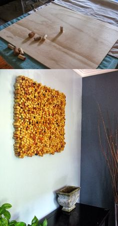 Turn leftover wine corks into wall art   If you have many  corks at home you can make use of them. As you see, they are suitable  fo...