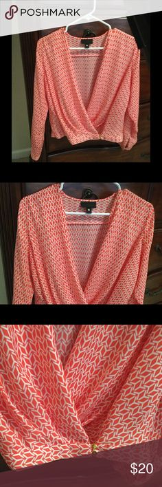 Worthington Crossover Top with Gold Buttons Very classy orange and white design on this crossover top! Gently used, worn twice.  This is a petite medium. Worthington Tops Blouses