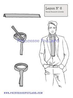 Au masculin, comment faire un noeud de foulard en cravate pour un homme  autour du 63d50fffe72