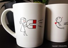 """""""You're not just anther person. You are the love of my life! There's just something about you that I find irresistible! What we have is magnetic!"""" BoldLoft """"You're Irresistible"""" His and Hers Couple Coffee Mugs. Perfect Christmas gifts for boyfriend or husband. $26.99 via BoldLoft. #boldloft #christmasgifts"""