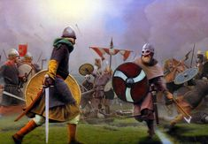 Viking warriors in combat, England