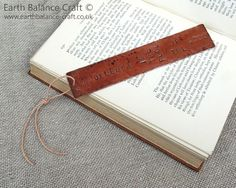 Knowledge is Food Bookmark - A weathered rustic design with the quotation 'Knowledge is the food of the soul' stamped onto the copper sheet.