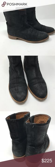 """Rag and Bone Holle waxed coated Moto boots Gently used condition, no significant shows of wear except exterior sole and heel. Size 38 best fits 7! Moto style ankle boots. Clean, modern minimalism defines a pull-on ankle boot shaped from rich Italian leather. 1"""" heel ,5 1/2"""" boot shaft, almond toe,  - Coated suede upper, leather lining and sole - By rag & bone; made in Italy Comes with original dust bag rag & bone Shoes Combat & Moto Boots"""