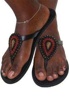 Arabesque African Kenyan Handmade Leather Beaded Sandals Flip Flops Thongs Handmade