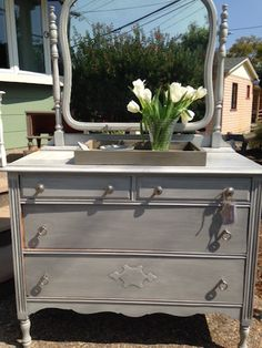 Vintage dresser with General Finish Seagull Grey.