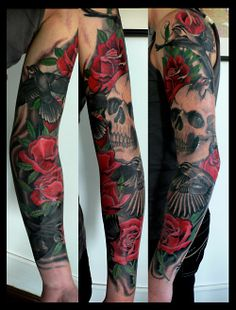 Skulls and Roses - a staple of Kore's work. Beautiful fine line mixed with heavy, stylized pops of color.