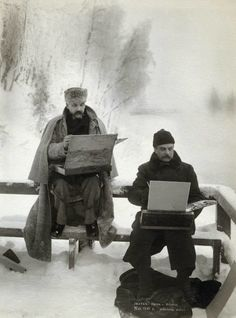 Finnish Painters Akseli Gallen-Kallela and Albert Edelfelt Painting in the Snow in 1893.  Burrr!!