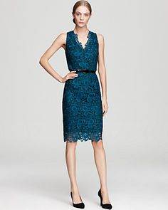 Aidan Mattox Lace Dress - V Neck Belted   Bloomingdale's $365