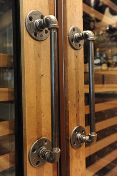 "Use old pipes as a unique door handle.l and make great large handles that anyone can get a ""grip"" onto."