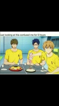 You know this is the first time I've seen it like that lol, and one question. Why did everyone but Nagisa absolutely HATE protein powder? Otaku Anime, All Anime, Anime Meme, Manga Anime, Memes Pt, Funny Memes, Hilarious, Splash Free, Free Iwatobi Swim Club