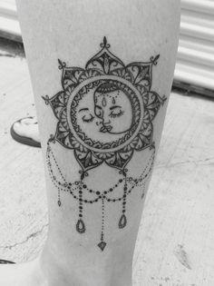Vintage Boho Sun and Moon Mandala Tattoo. LOVE it!!