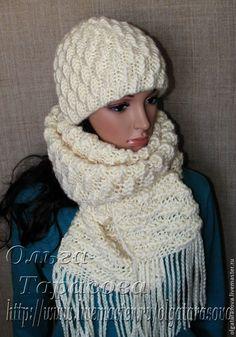 Купить Шапка на подкладе + шарф, авторский комплект - бежевый, шапка зимняя, шапка женская