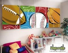 Sports wall canvases- showcase your childs favourite games! Contact us today for our takeaway art prices mail@splatterkats.com