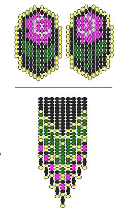 Free pattern for earrings Roses. the pattern