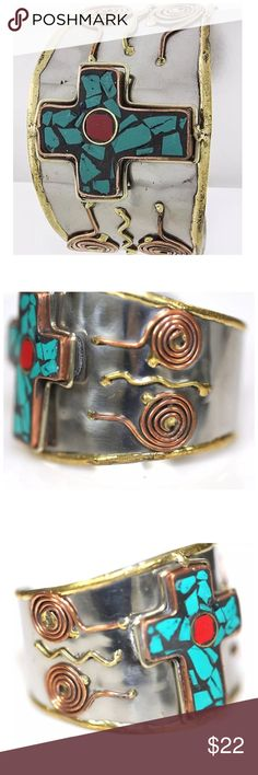 "D27 Art Deco Cross Copper Silver Cuff Bracelet ‼️ PRICE FIRM UNLESS BUNDLED WITH OTHER ITEMS FROM MY CLOSET ‼️   Art Deco Bracelet   Really beautiful bracelet. Sure to dress up any outfit.  Approximately 2"" wide.  Please check my closet for many more items including designer clothing, scarves, shoes, handbags & much more! Jewelry Bracelets"