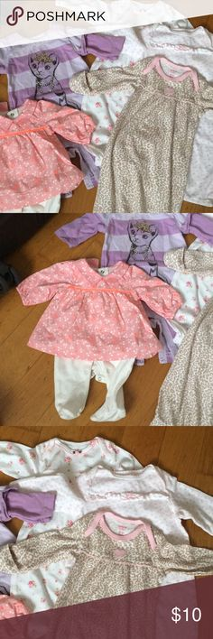 Lot of never worn baby clothes 3 baby girl cotton stretch sleep dresses 0-3mo with gold over hand mits, never worn. One dress from paris with attached white leggings that snap across bottom also never worn. The dress size was written in cm So by the time I figured it out she was too big to wear it. It's size 50cm which is about USA newborn size. Onsie is just thrown in, worn but in excellent condition size 0-3 Dresses Casual
