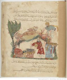 Folio 140 Recto: maqama 44. al-Harith invited to the meal