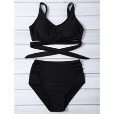 High Waisted Crisscross Hollow Out Bikini Set ($12) ❤ liked on Polyvore featuring swimwear, bikinis, bikini two piece, high-waisted swimwear, criss cross bikini, highwaist swimwear and high waisted swim wear