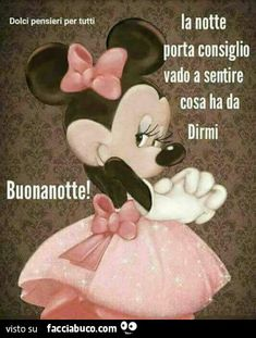 Buona notte Morning Thoughts, Italian Quotes, Creative Thinking, Good Mood, Good Night, Disney Characters, Dolce, Video, Facebook