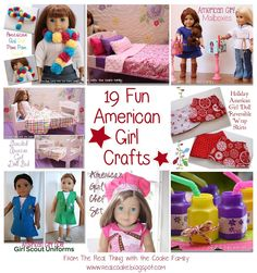19 Fun American Girl Crafts (Crafts, Sewing, Clothing Party Ideas) doll clothes and doll crafts via realcoake American Girl Birthday, American Girl Parties, American Girl Crafts, American Girl Clothes, Girl Doll Clothes, Doll Clothes Patterns, Doll Patterns, Girl Dolls, American Girls
