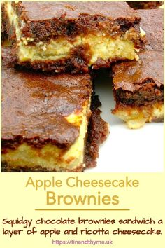 Squidgy chocolate brownies sandwich a layer of apple and ricotta cheesecake. Delightfully decadent and delicious. Enjoy them with a fork as an after dinner dessert. Or just tuck into one with a cup of tea or coffee. #TinandThyme #CheesecakeBrownies #AppleBrownies #AppleCheesecake #BrownieRecipes