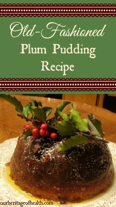 Old-Fashioned Plum Pudding - Unser Erbe der Gesundheit - weihnacten Plum Recipes, Cream Recipes, Holiday Recipes, Plum Pudding Recipes, Pudding Desserts, Christmas Recipes, English Christmas Pudding, English Pudding, Xmas Pudding