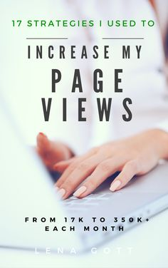 17 Strategies I Used to Increase My Page Views From 17k to 350k+ — Are you stuck deep in the pits of blogging darkness not knowing how to increase your blog traffic? I put my top 17 traffic generation tips & theories and a list of what NOT to do in an 82-page e-book so I can help other bloggers learn what has worked and not worked for me. I poured all my best tips, from what I do just after publishing each post to how I share my content on lesser known platforms like StumbleUpon and Google+.