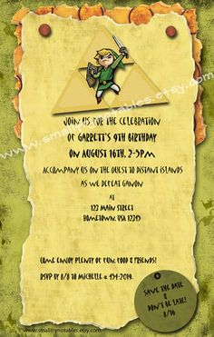 Personalized Legend of Zelda Theme Party Printable Invitation. $12.00, via Etsy.