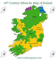 16th century ethnicity map of Ireland