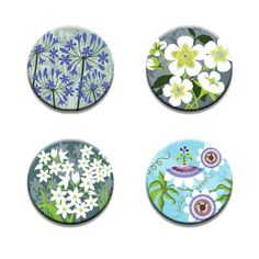 A pack of 4 Alison Bick Artist coastal garden flowers design Pattern weights fabric weights by RICEMETALS on Etsy