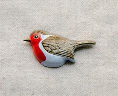Robin red breast brooch от msBIRDIEshop на Etsy