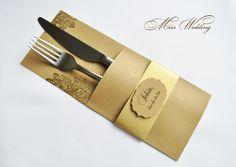 Hochzeitsdeko - Bestecktasche -Tischdekoration Hochzeit Geburtstag - ein Designerstück von MissWedding bei DaWanda