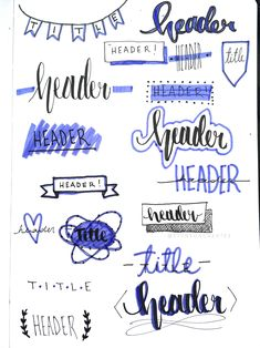 Bujo headers and titles! Had a lot of fun doing this one! Bujo headers and titles! Had a lot of fun doing this one! Bullet Journal Headers, Bullet Journal Banner, Bullet Journal Notebook, Bullet Journal School, Bullet Journal Ideas Pages, Bullet Journal Inspiration, Journal Fonts, Journal Layout, Doodle Lettering
